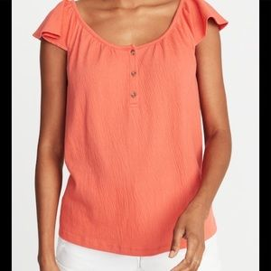 NWT Relaxed Flutter-Sleeve Textured Top